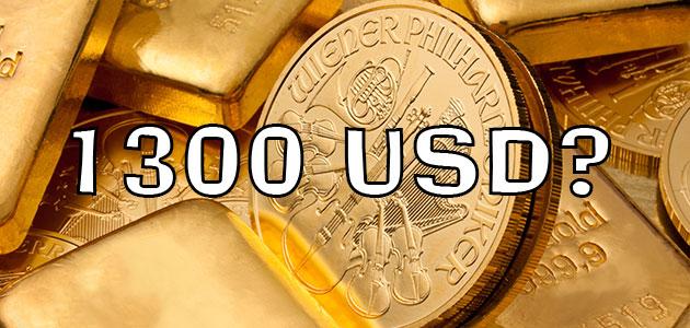 Czy złoto przekroczy granicę 1300 dol. za uncję?